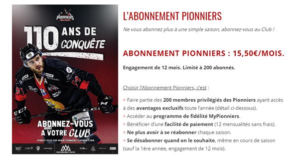 Chamonix Pioneers club subscription
